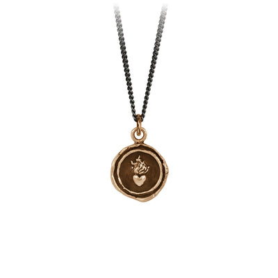 Pyrrha Flaming Heart Signature Talisman Necklace Bronze