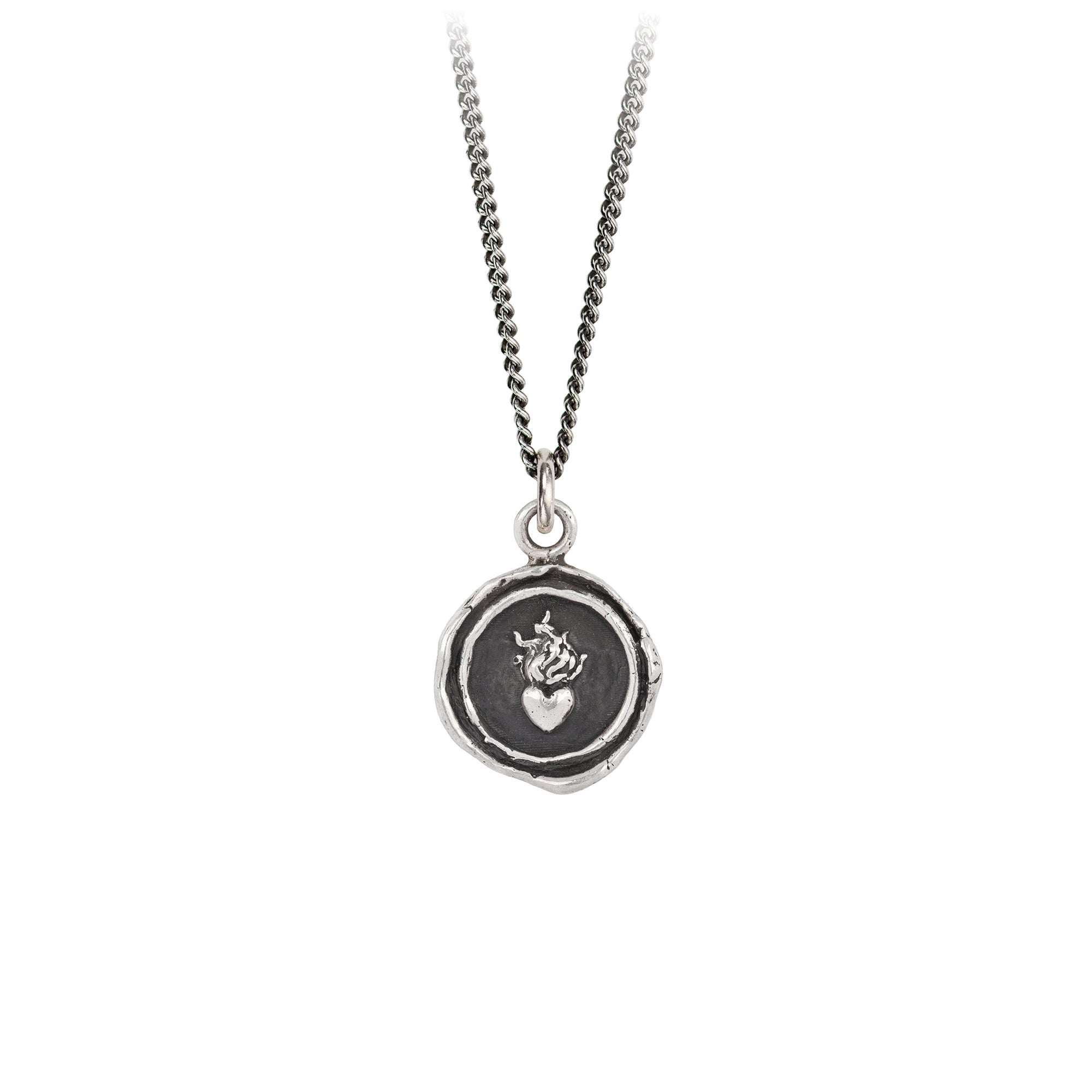 Pyrrha Flaming Heart Signature Talisman Necklace Silver