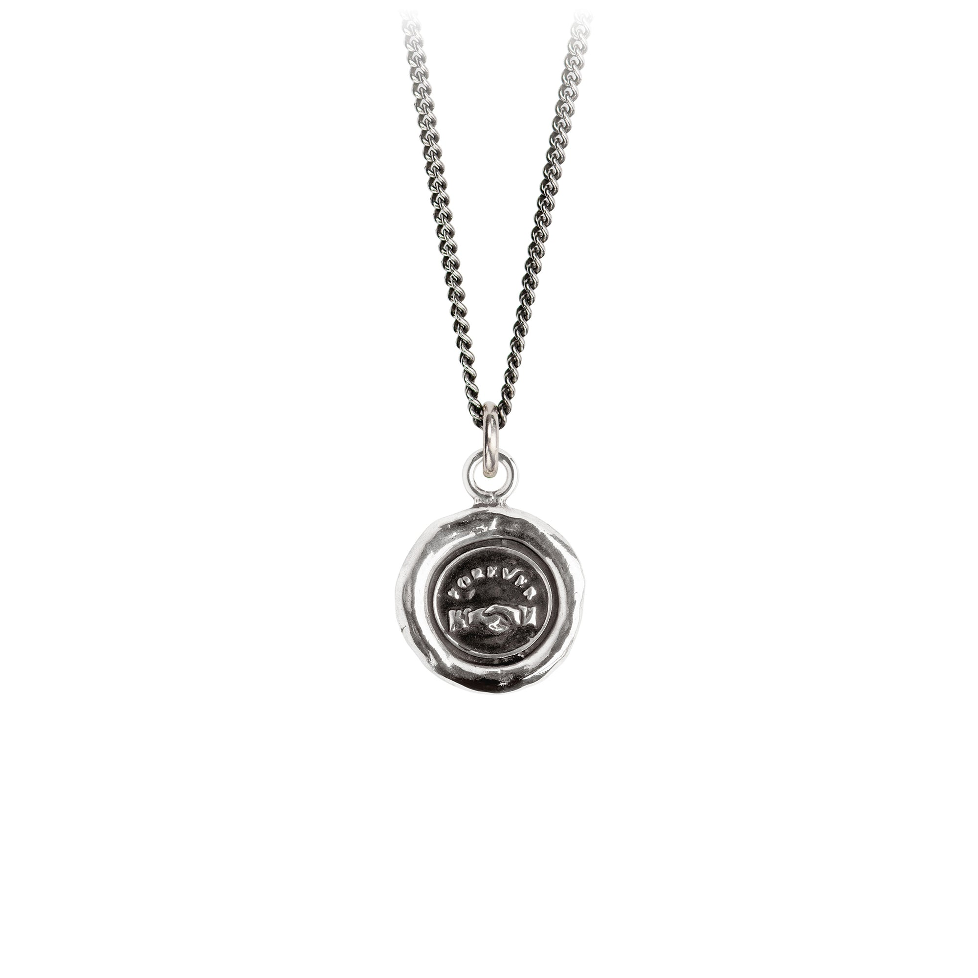 Pyrrha Forever Friends Talisman Necklace Fine Curb Chain Silver