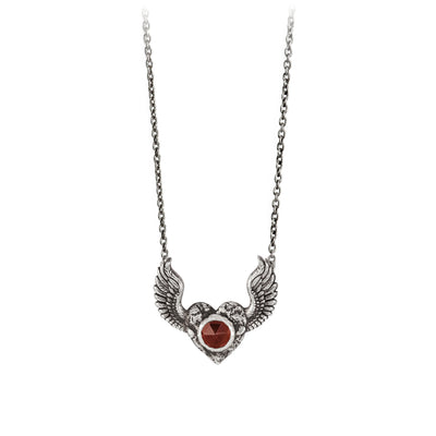 Pyrrha Heart with Wings Garnet Faceted Stone Talisman Silver