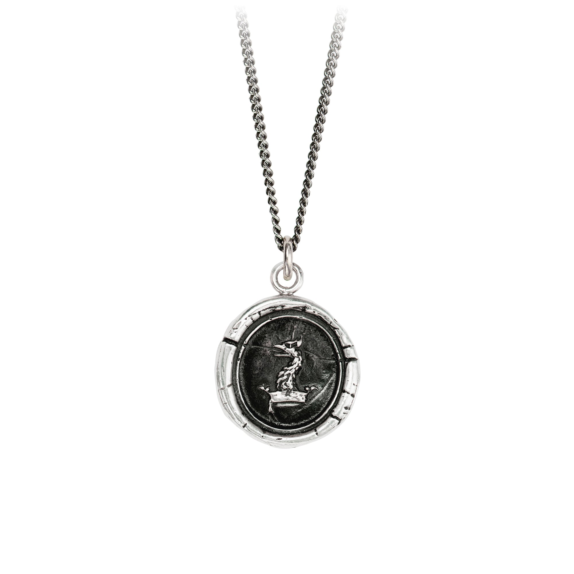 Pyrrha Gryphon Head Talisman Necklace Fine Curb Chain Silver