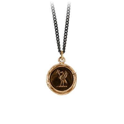 Pyrrha Happily Ever After Talisman Necklace Medium Curb Chain Bronze
