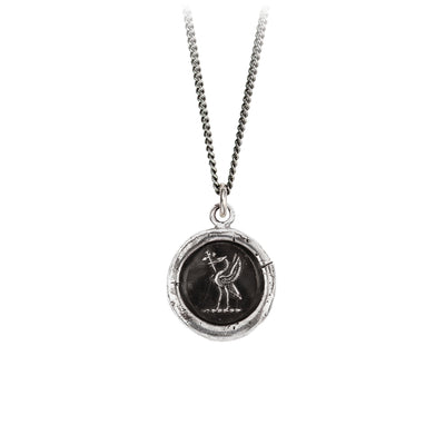 Pyrrha Happily Ever After Talisman Necklace Fine Curb Chain Silver