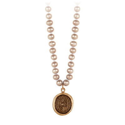 Pyrrha Heart of Courage Champagne Knotted Freshwater Pearl Necklace