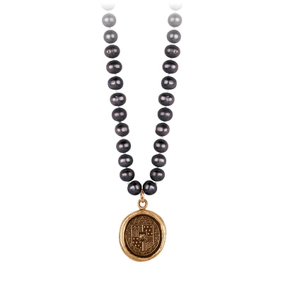 Pyrrha Heart of Courage Peacock Black Knotted Freshwater Pearl Necklace