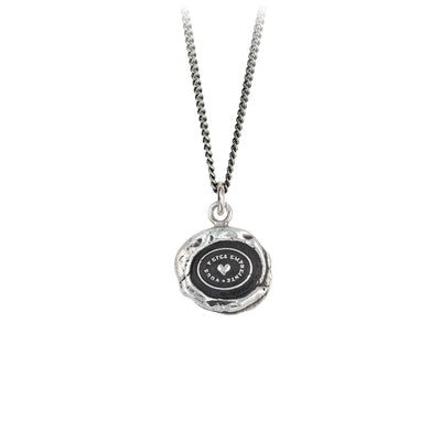Pyrrha Heart Print Talisman Necklace Silver