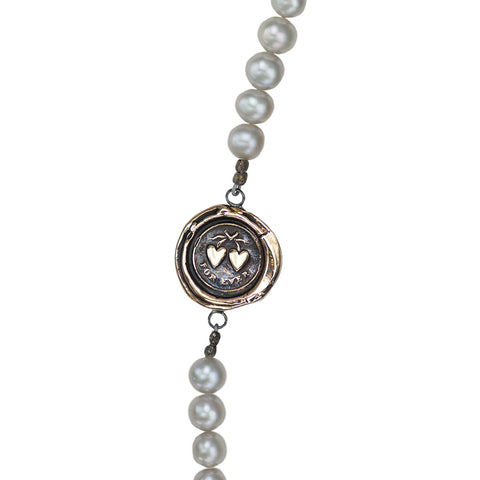 Hearts Freshwater Pearl Necklace - Pyrrha  - 1