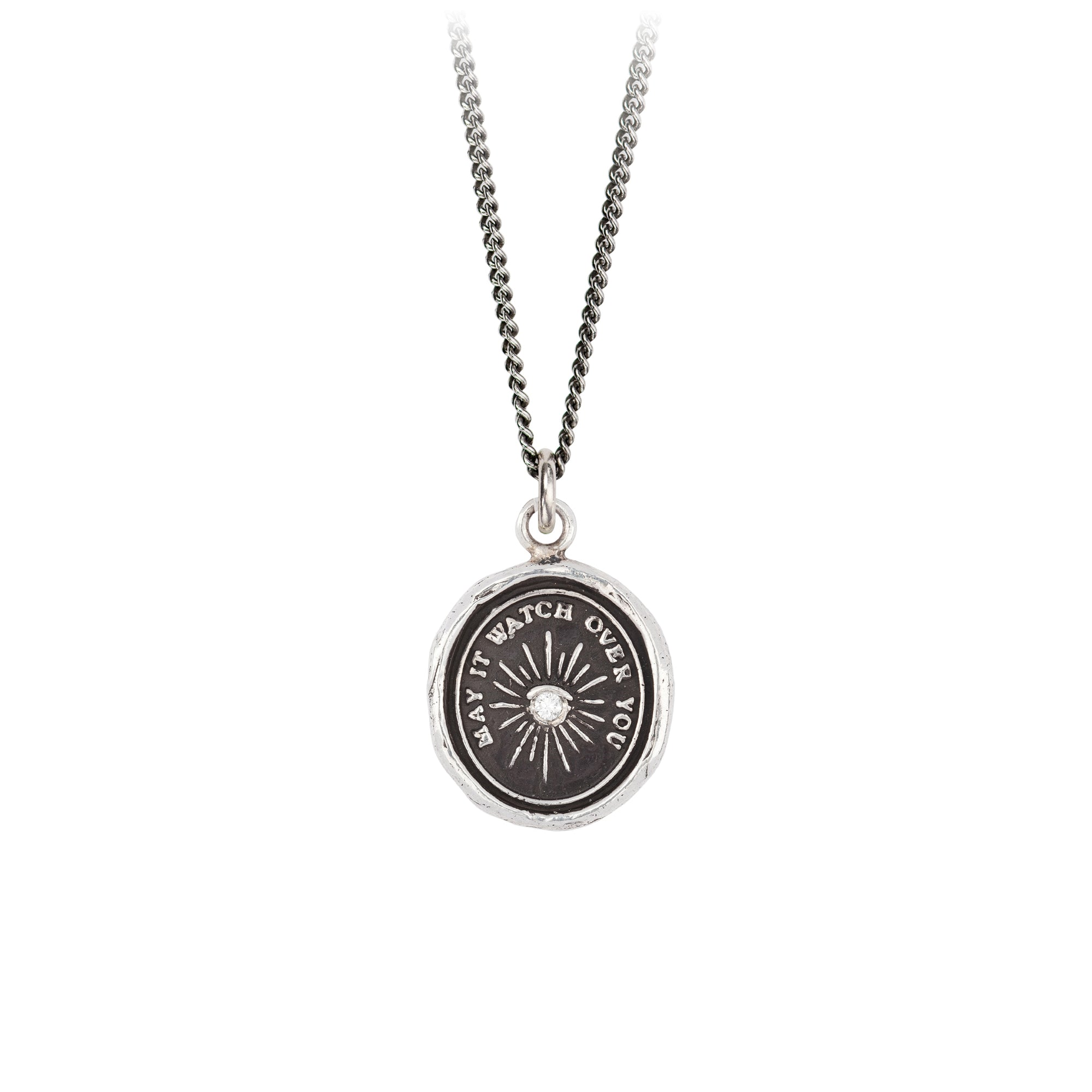 Pyrrha Diamond Set Higher Power Talisman Necklace Silver