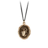 Pyrrha Horse Engravable Talisman Necklace Fine Curb Chain Bronze
