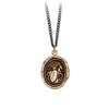 Pyrrha Horse Engravable Talisman Necklace Medium Curb Chain Bronze
