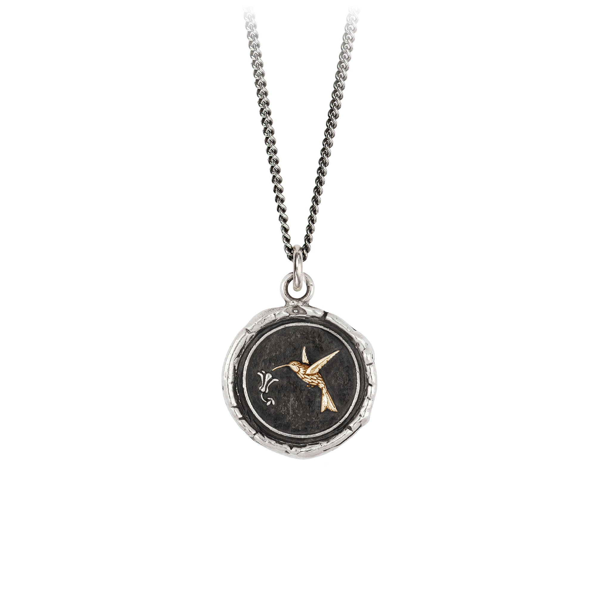Pyrrha 14K Gold on Silver Hummingbird Talisman Necklace