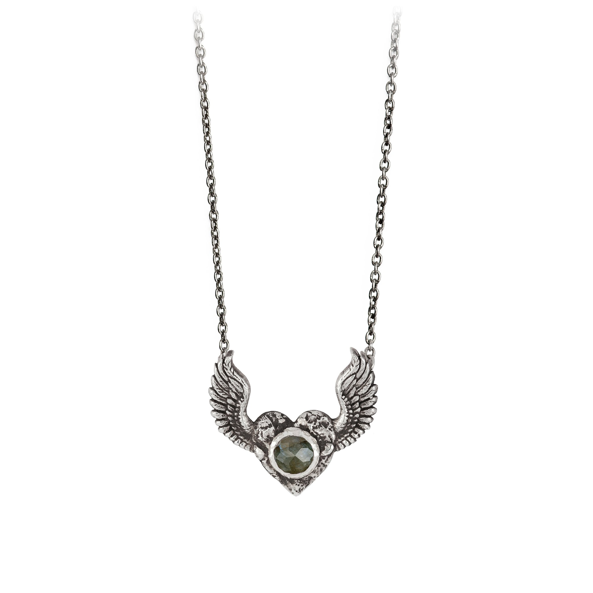 Pyrrha Heart with Wings Labradorite Faceted Stone Talisman Silver