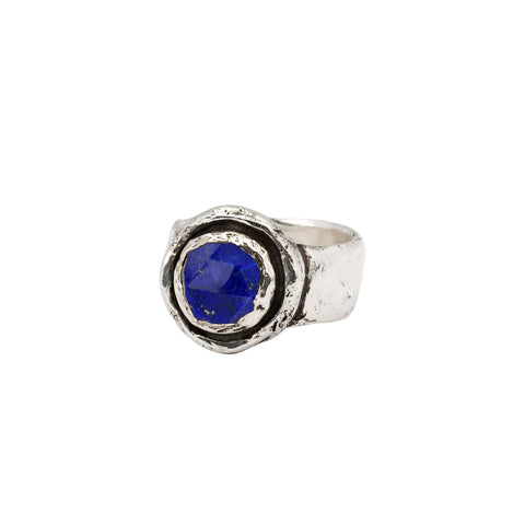 lapis faceted stone talisman ring - pyrrha - 1