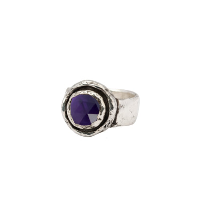 Amethyst Faceted Stone Talisman Ring