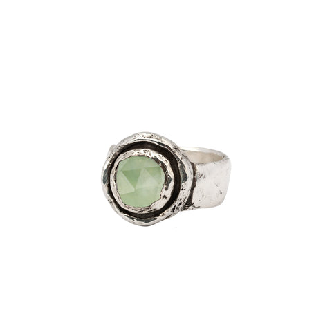 Prehnite Faceted Stone Talisman Ring