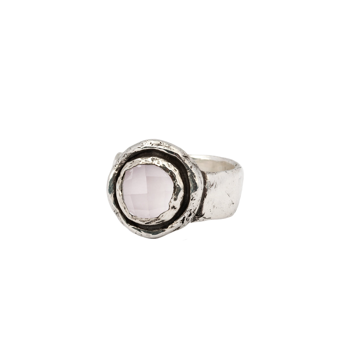 Rose Quartz Faceted Stone Talisman Ring