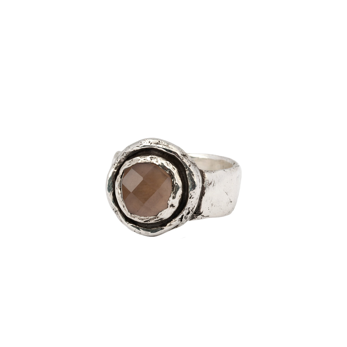 Smoky Quartz Faceted Stone Talisman Ring