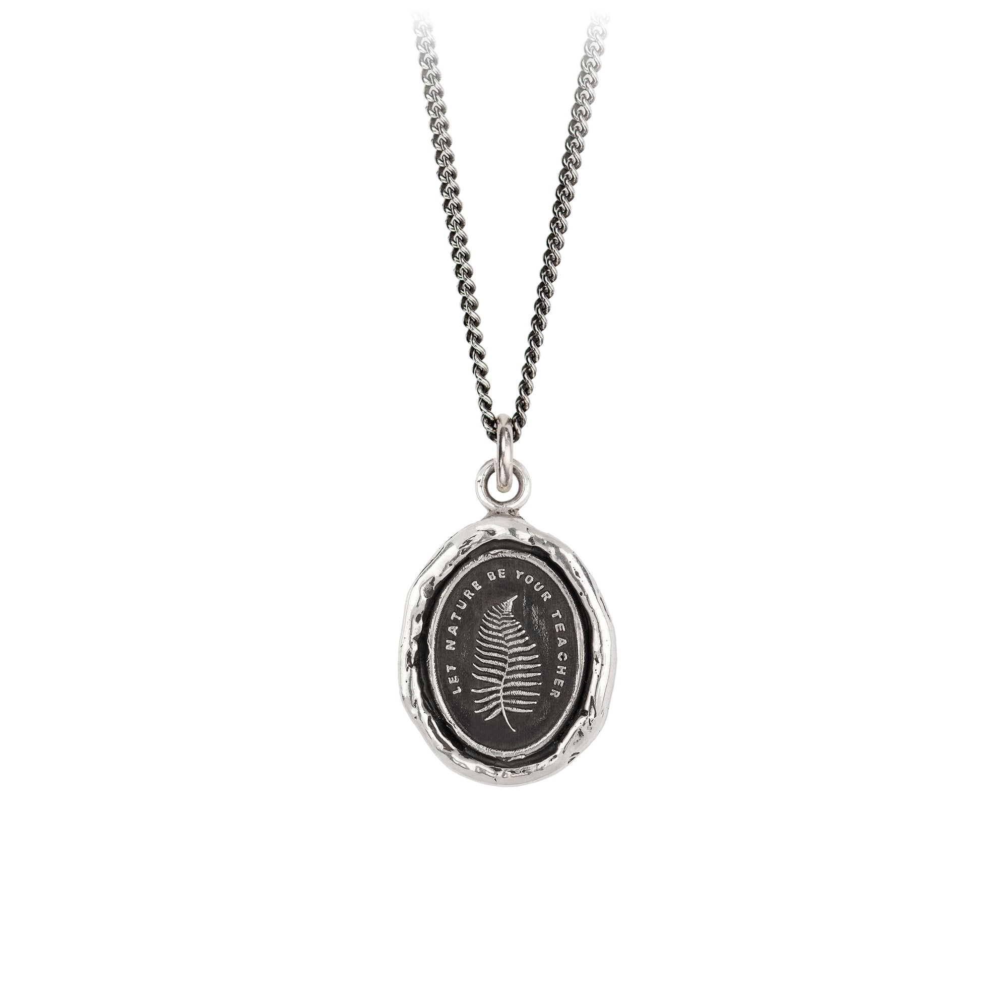 Pyrrha let nature be your teacher talisman necklace silver