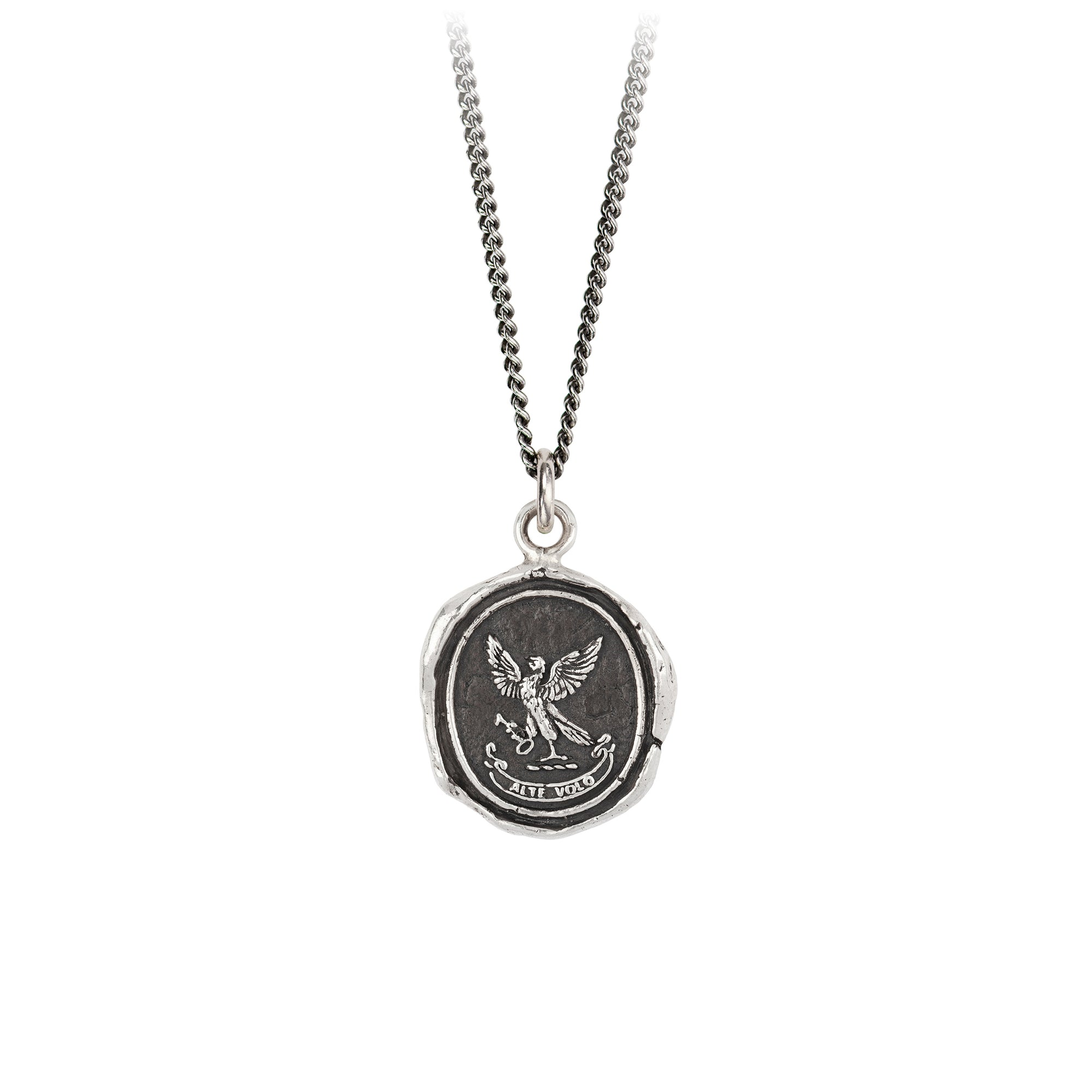 Pyrrha Limitless Talisman Necklace Fine Curb Chain Silver