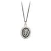 Pyrrha Lion Head Talisman Necklace Fine Curb Chain Silver