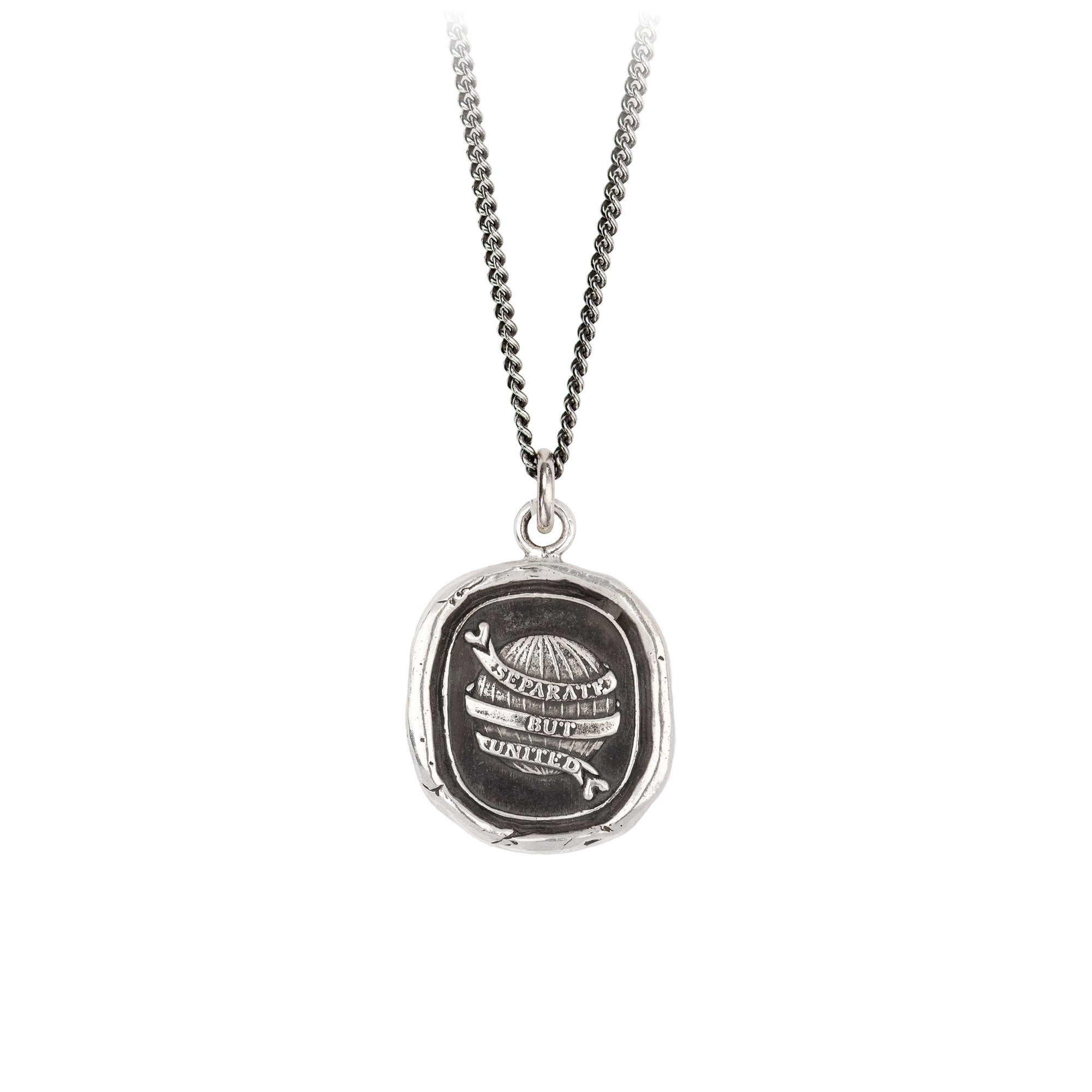 Pyrrha Long Distance Love Talisman Necklace Fine Curb Chain Silver