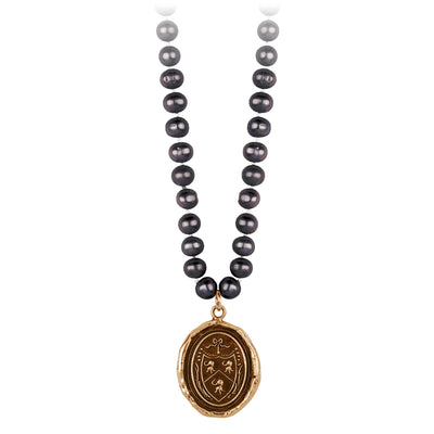 Pyrrha Longevity, Happiness and Good Luck Peacock Black Knotted Freshwater Pearl Necklace