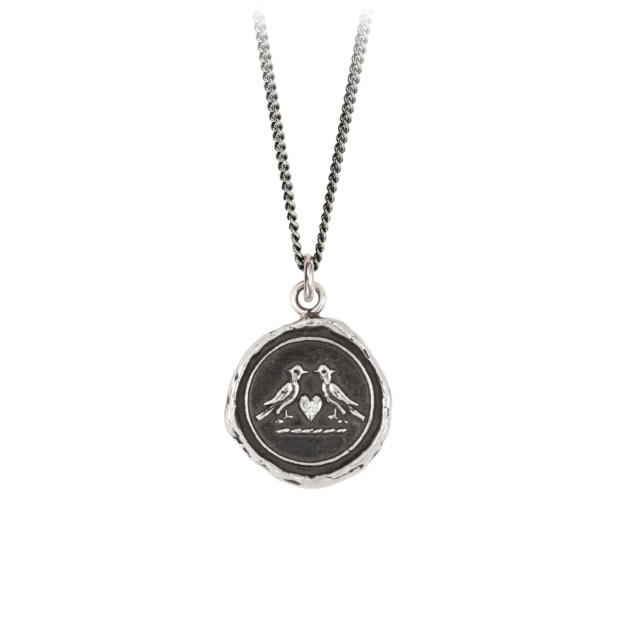 Pyrrha Diamond Set Love Birds Talisman Necklace Silver