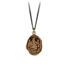 Pyrrha Love Conquers All Talisman Necklace Fine Curb Chain Bronze