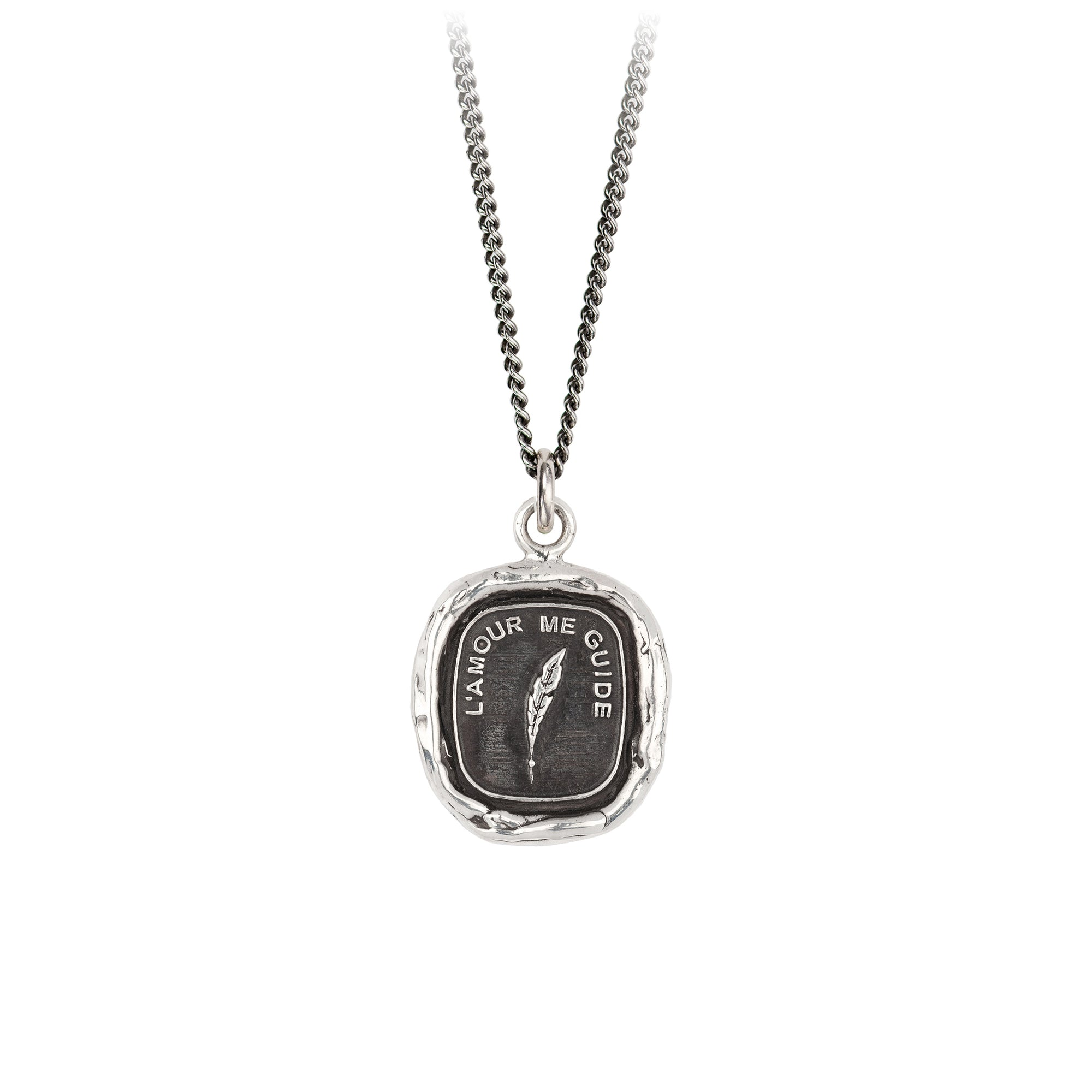 Pyrrha Love Guides Me Talisman Necklace Fine Curb Chain Silver