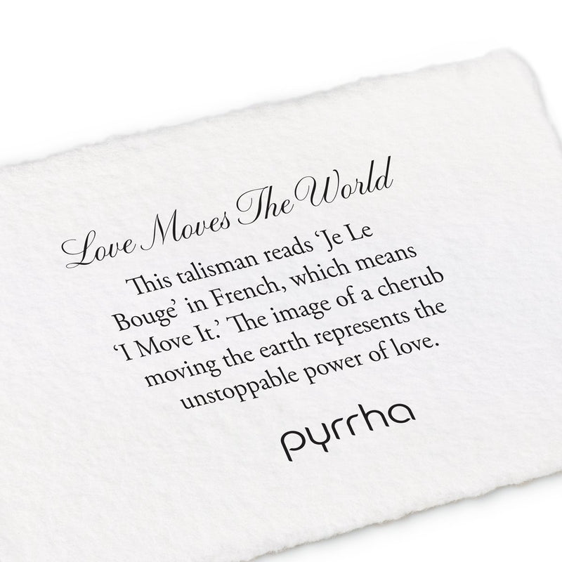 Pyrrha Love Moves The World Talisman Necklace Fine Curb Chain Silver
