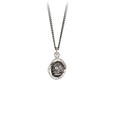 Pyrrha Love Talisman Necklace Fine Curb Chain Silver