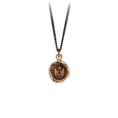 Pyrrha Luck and Protection Talisman Necklace Fine Curb Chain Bronze