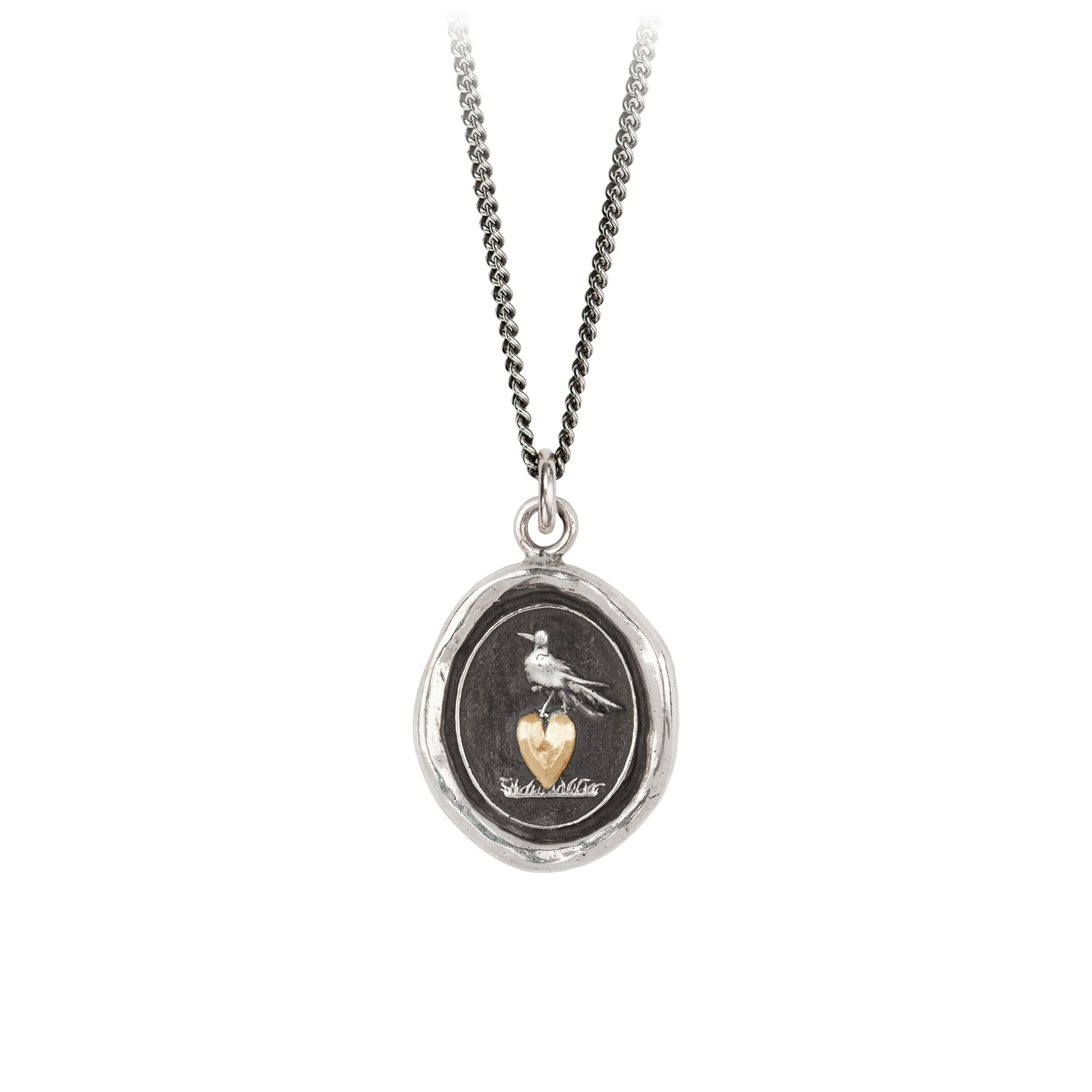 Martlet & Heart 14K Gold on Silver Talisman