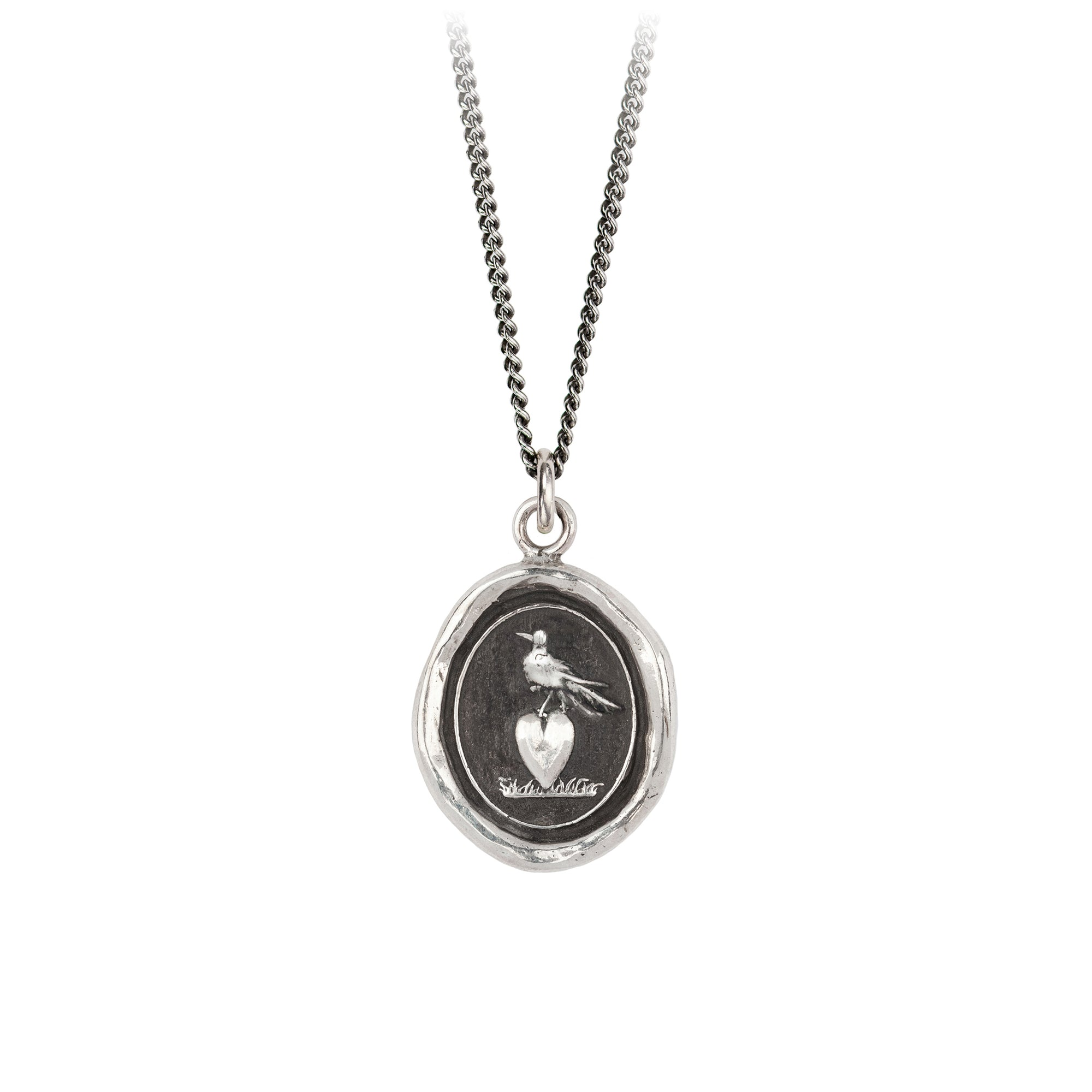 Pyrrha Martlet and Heart Talisman Necklace Fine Curb Chain Silver