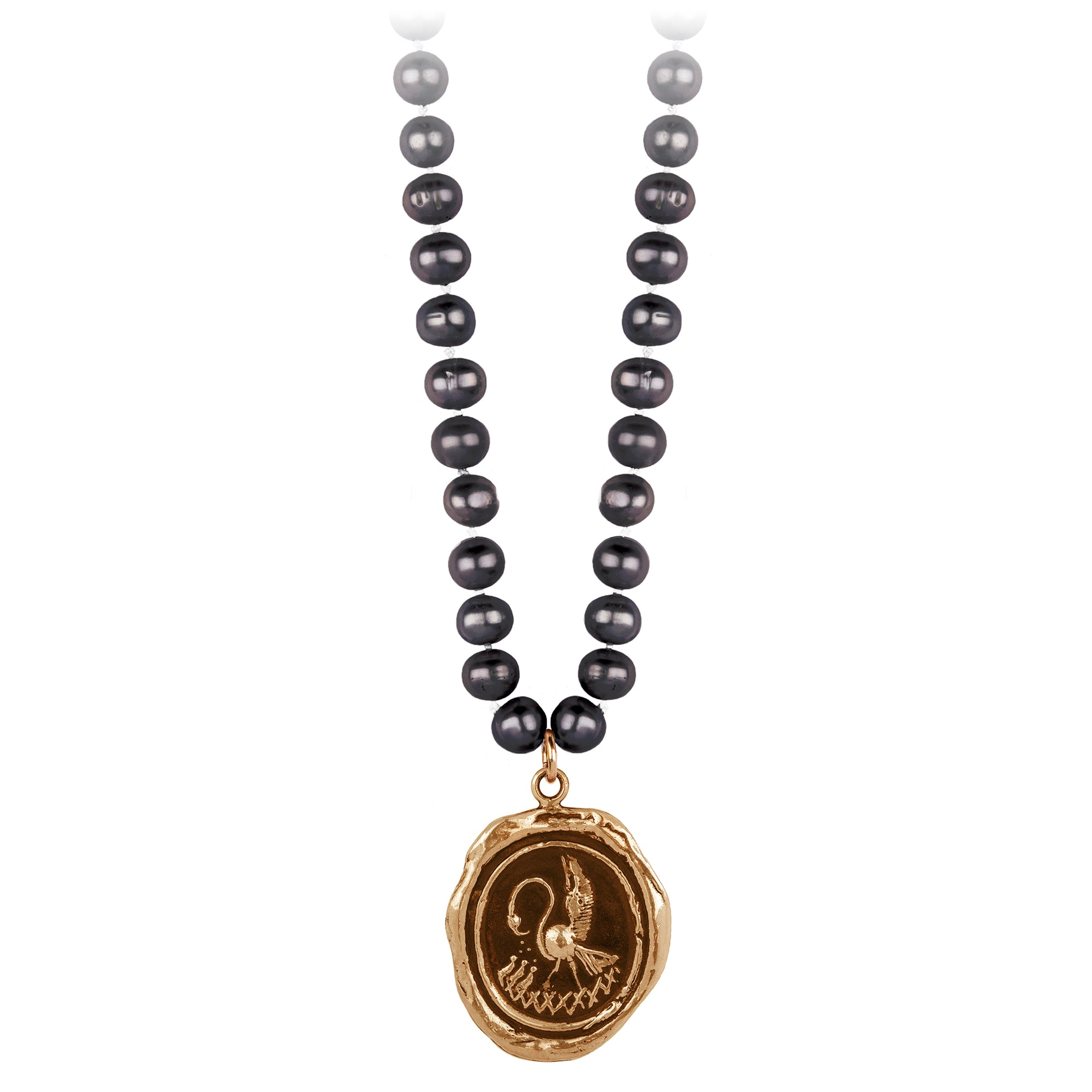 Pyrrha Maternal Devotion Peacock Black Knotted Freshwater Pearl Necklace
