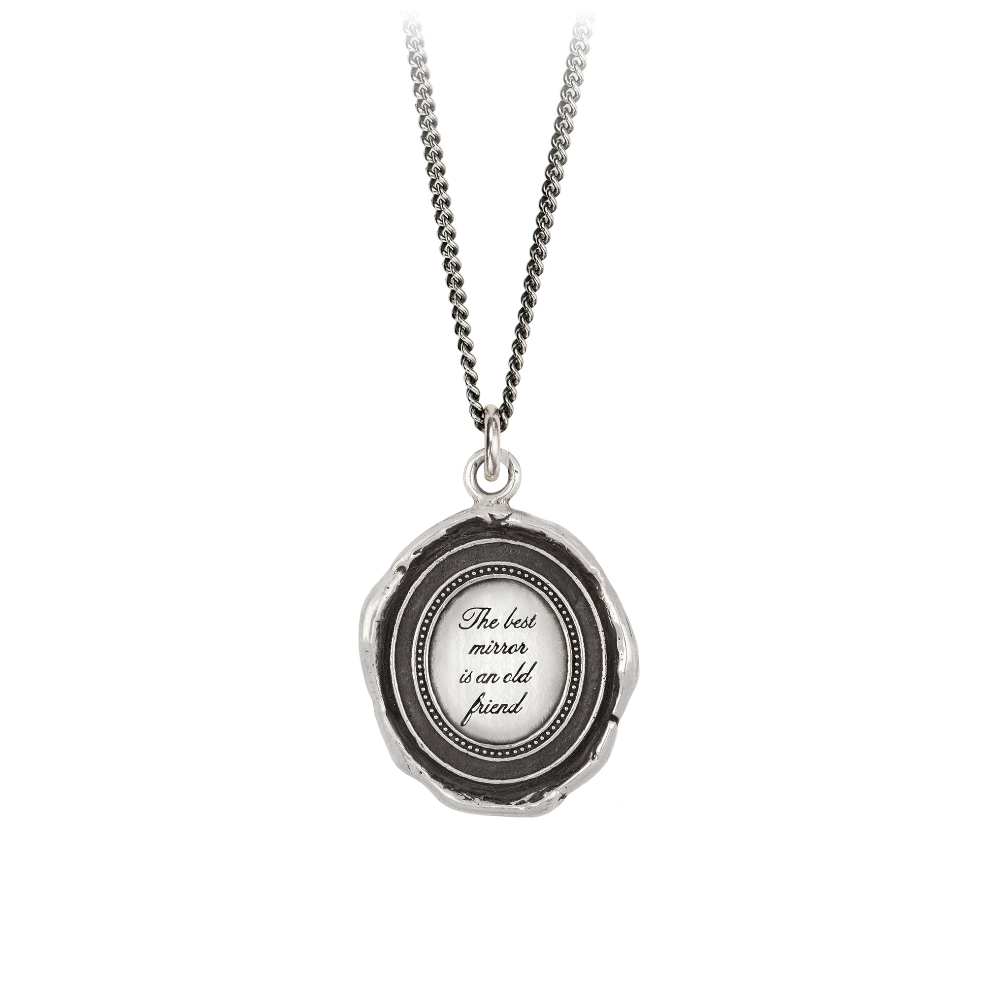 Pyrrha Mirror Talisman Necklace Fine Curb Chain Silver