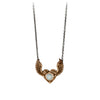 Pyrrha Heart with Wings Moonstone Faceted Stone Talisman Bronze
