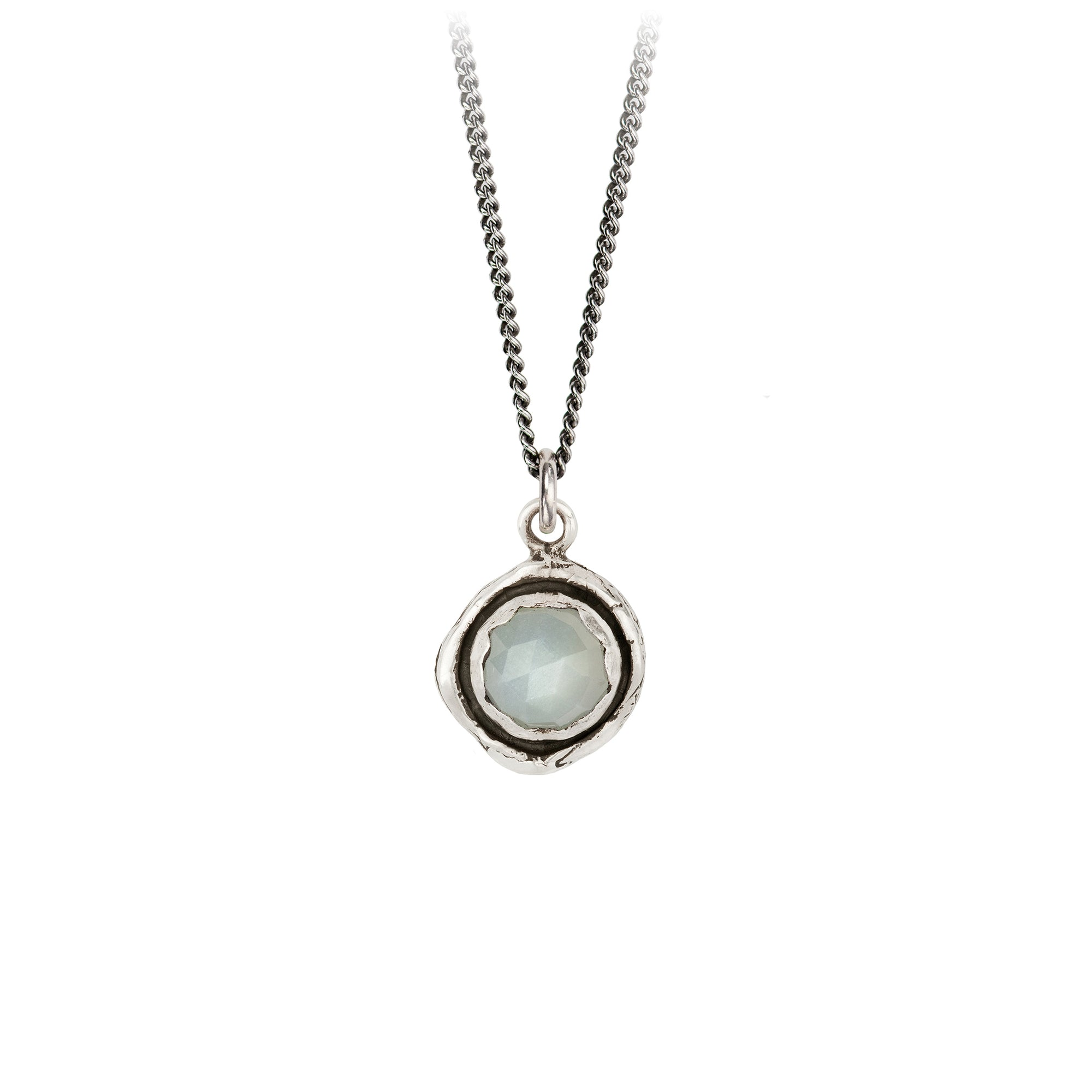 Pyrrha Moonstone Faceted Stone Talisman Necklace Silver