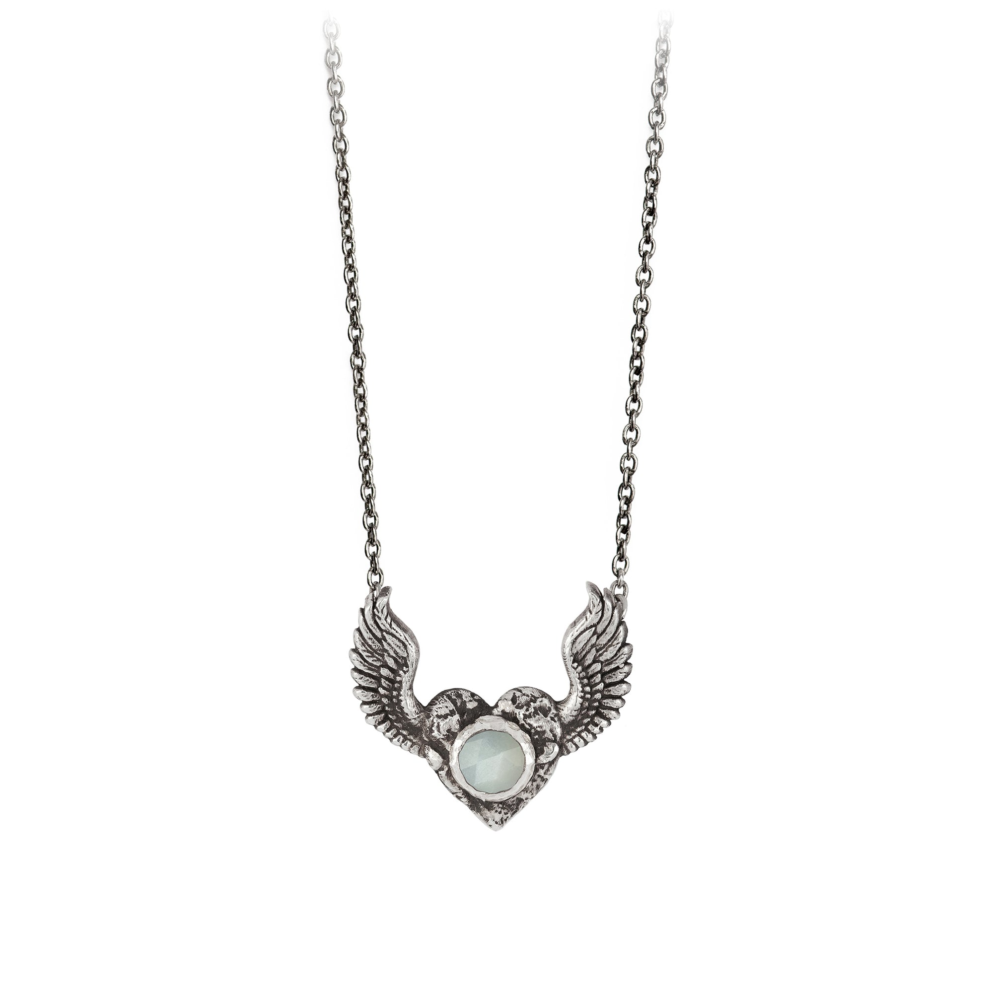 Pyrrha Heart with Wings Moonstone Faceted Stone Talisman SIlver