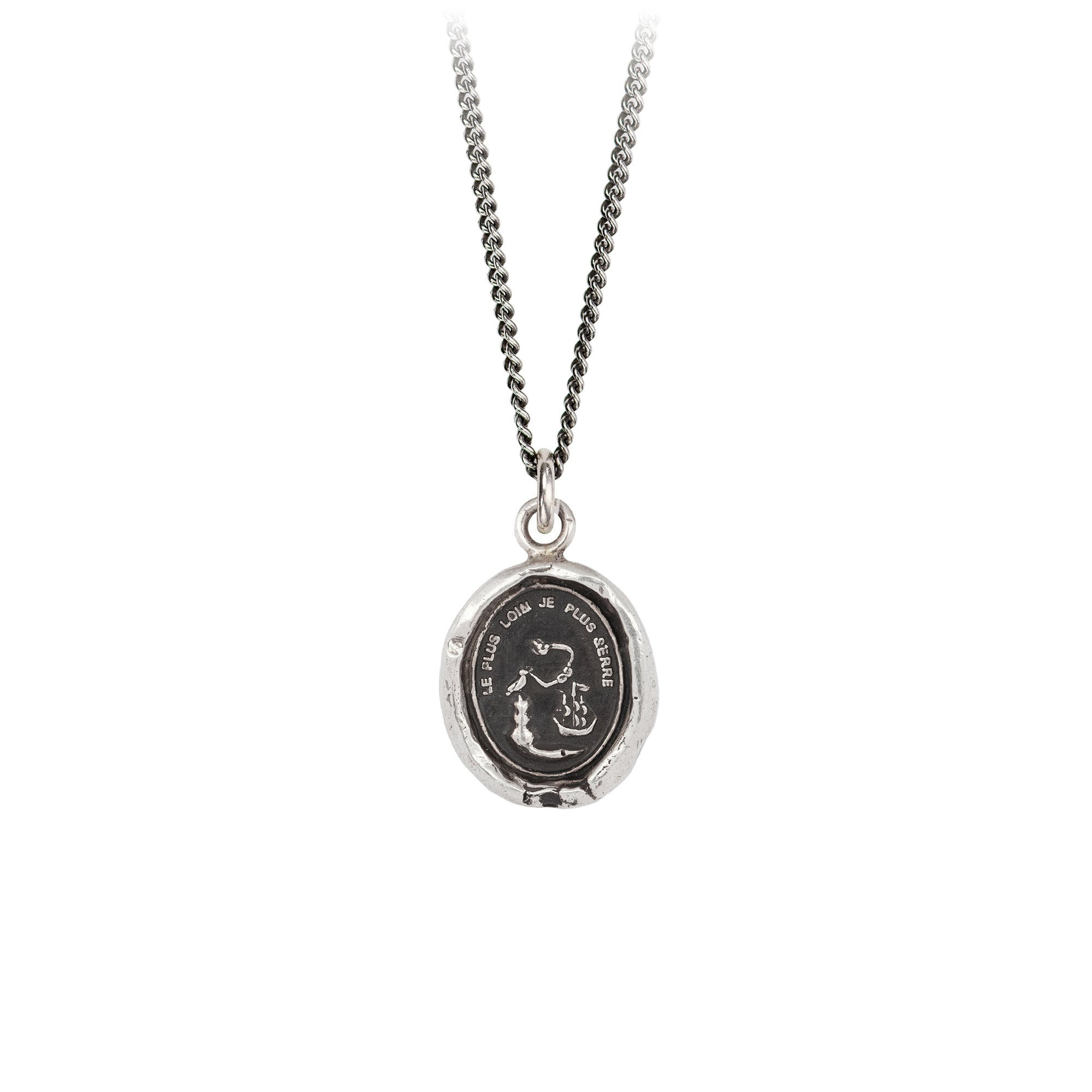 Pyrrha Neither Time Nor Distance Talisman Necklace Fine Curb Chain Silver