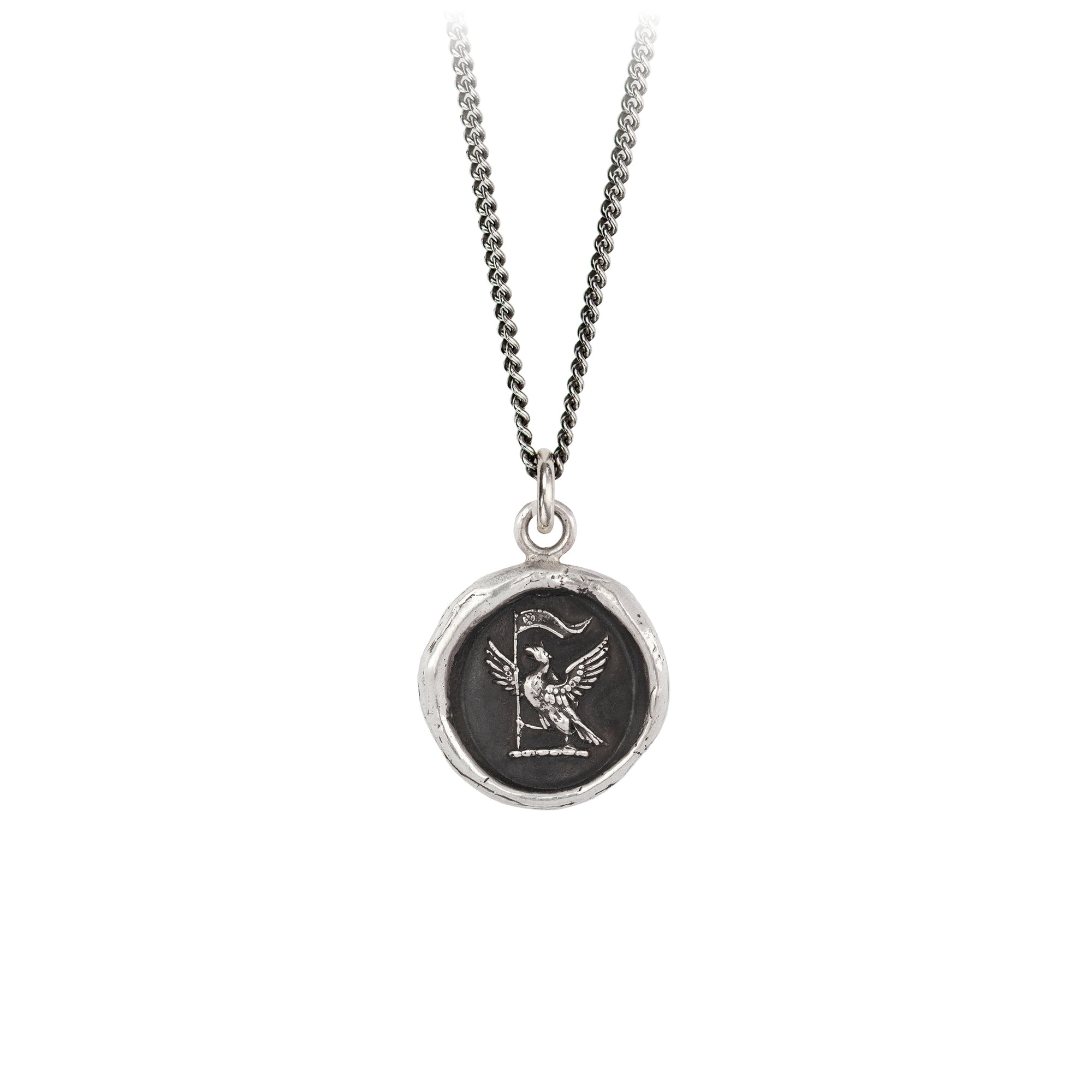 Pyrrha Never Settle Talisman Necklace Fine Curb Chain Silver