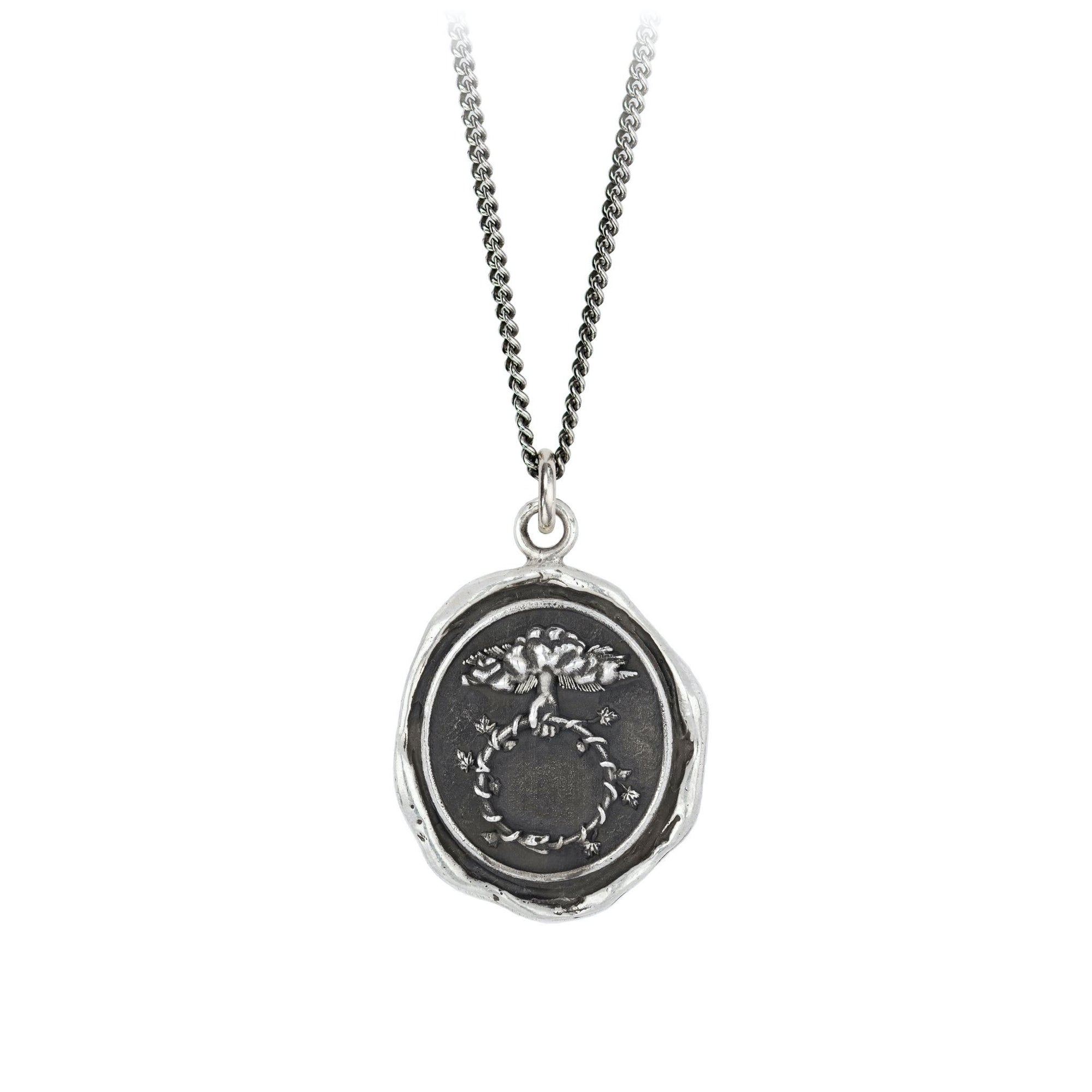 Pyrrha Neverending Engravable Talisman Necklace Fine Curb Chain Silver