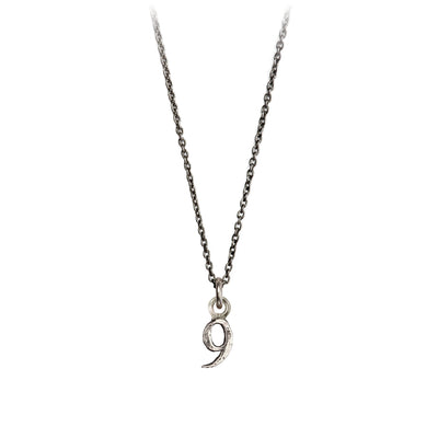Pyrrha Silver Number 9 Charm Necklace