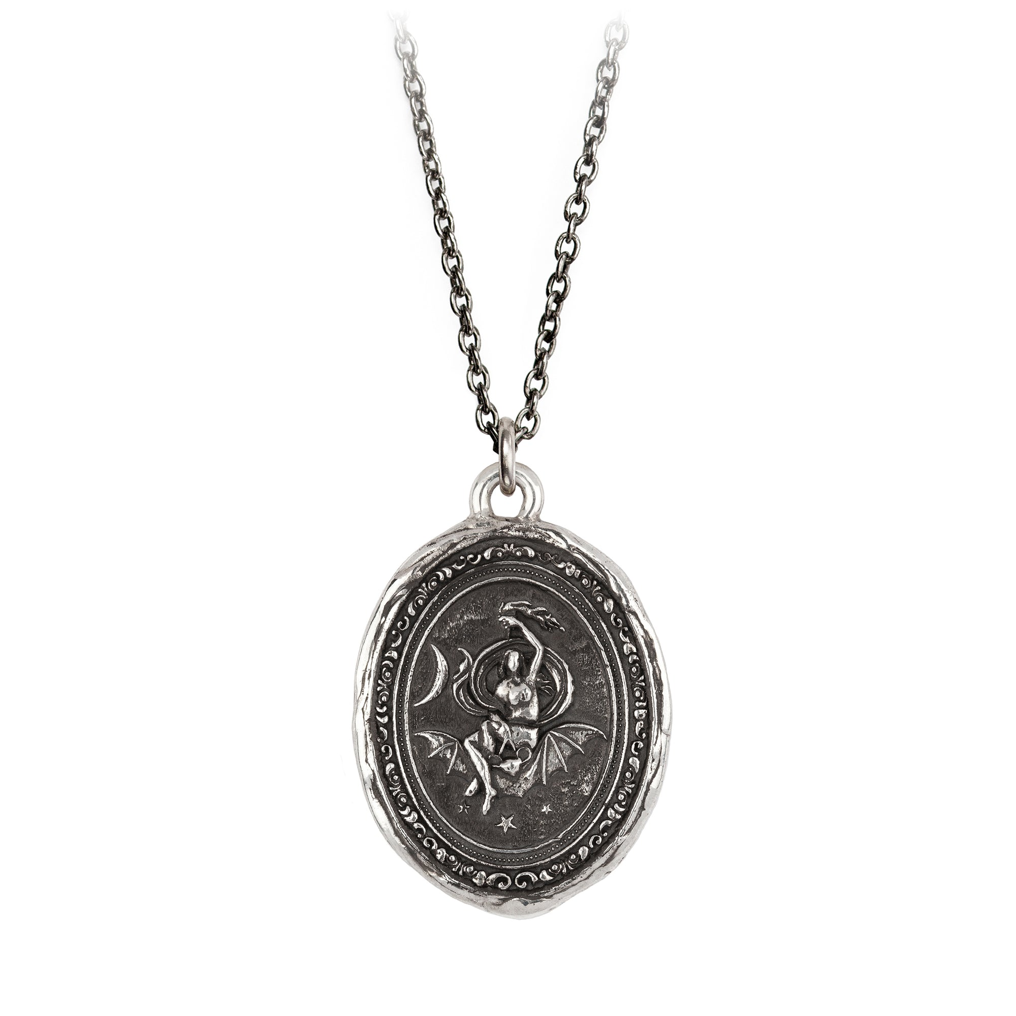 Pyrrha Nyx Goddess Talisman Necklace Silver