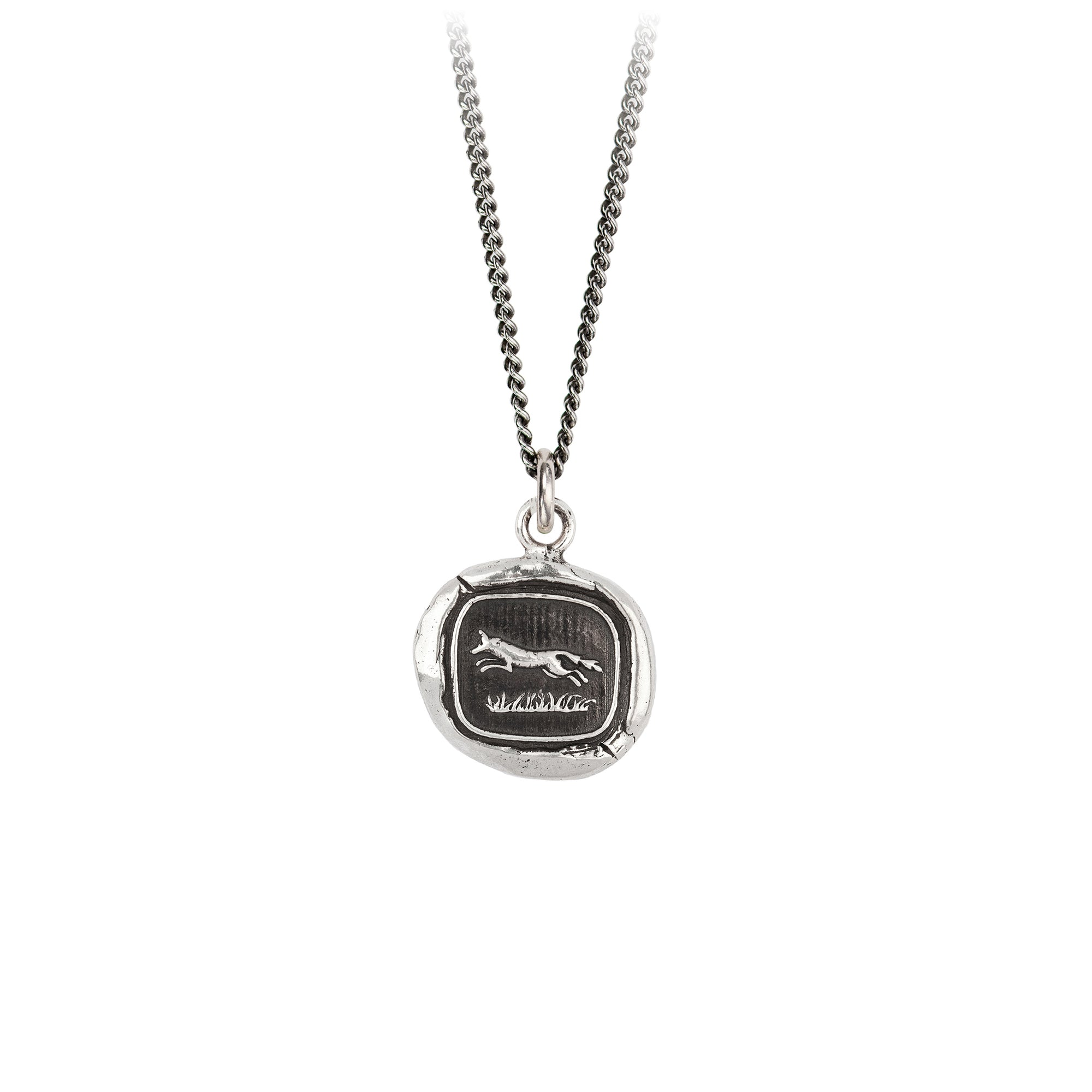 Pyrrha Pathfinder Talisman Necklace Fine Curb Chain Silver