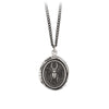 Pyrrha Perseverance Talisman Necklace Medium Curb Chain Silver