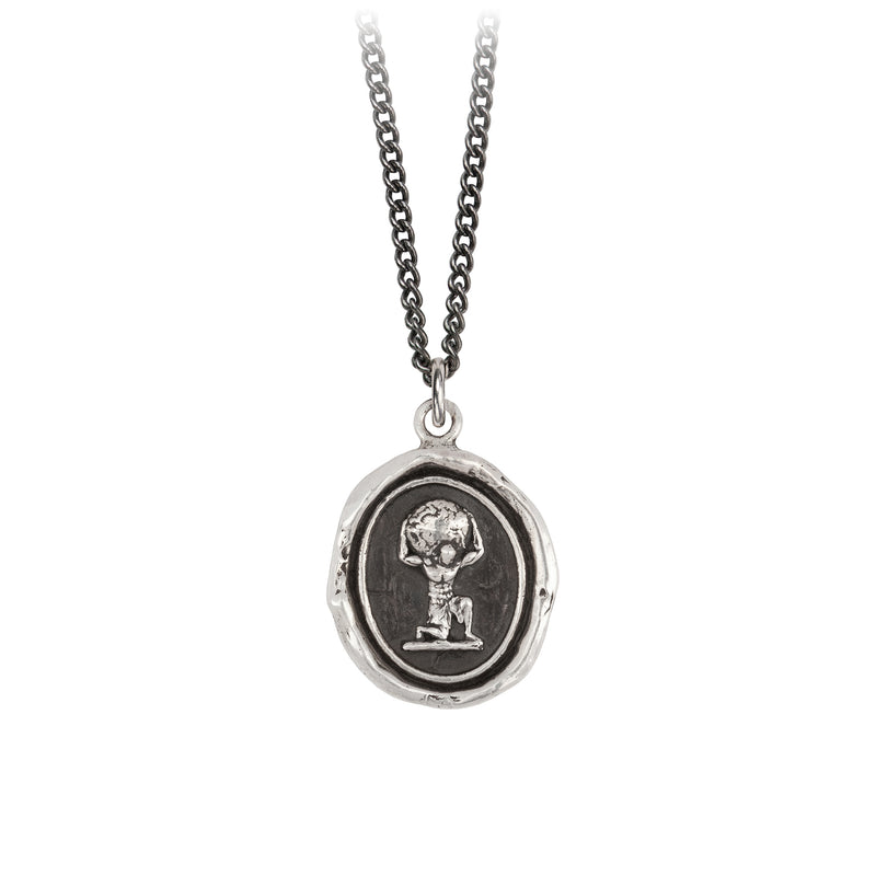 Pyrrha Pillar of Strength Talisman Necklace Fine Curb Chain Silver