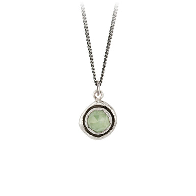 Pyrrha Prehnite Faceted Stone Talisman Necklace Silver