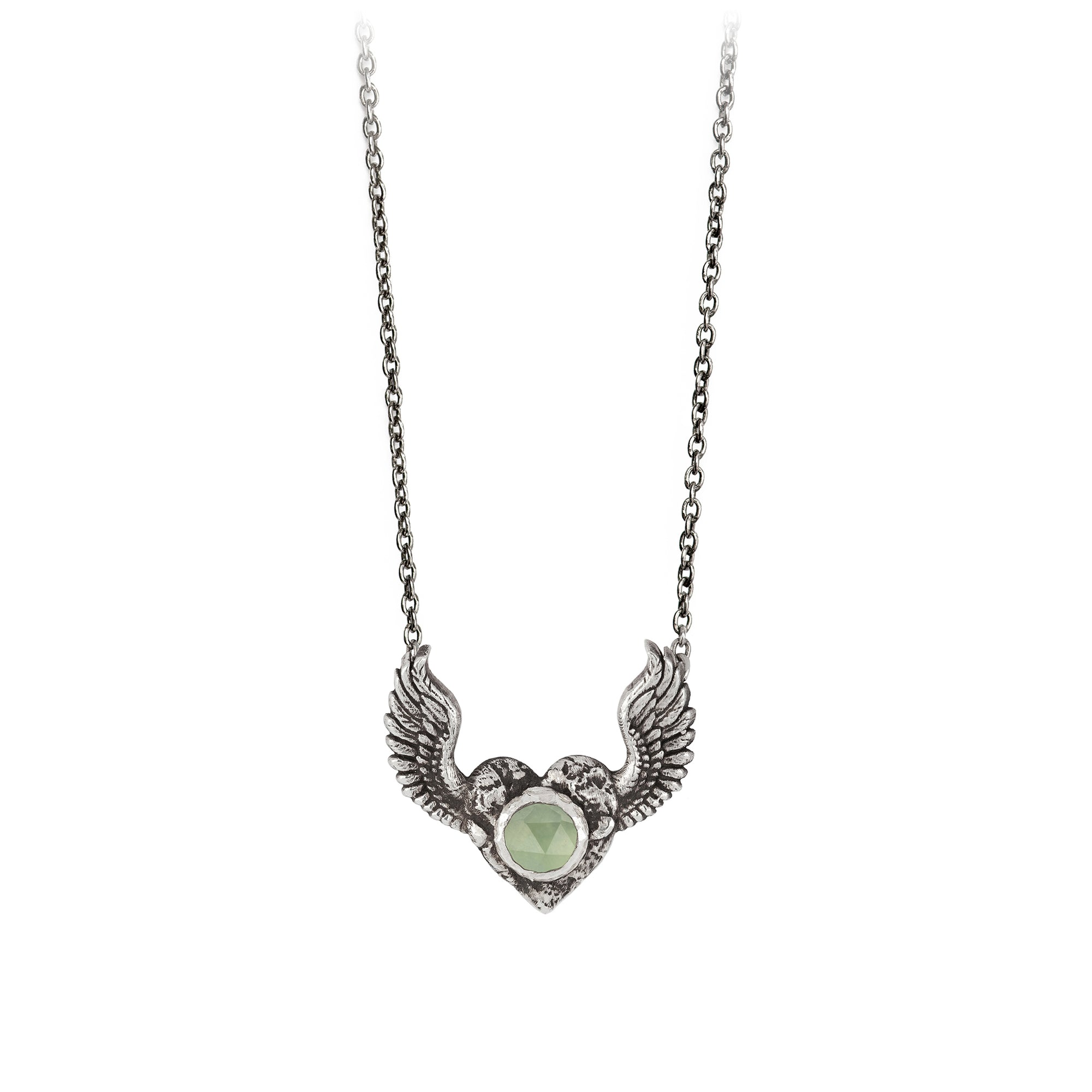 Pyrrha Heart with Wings Prehnite Faceted Stone Talisman Silver