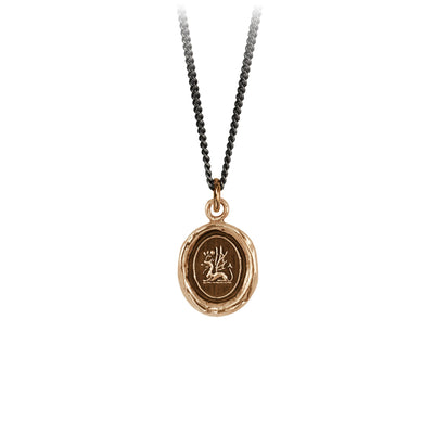 Pyrrha Protection Talisman Necklace Fine Curb Chain bronze